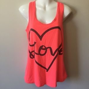 "Tops - Large Salmon ""Love"" Razorback Tank Top"